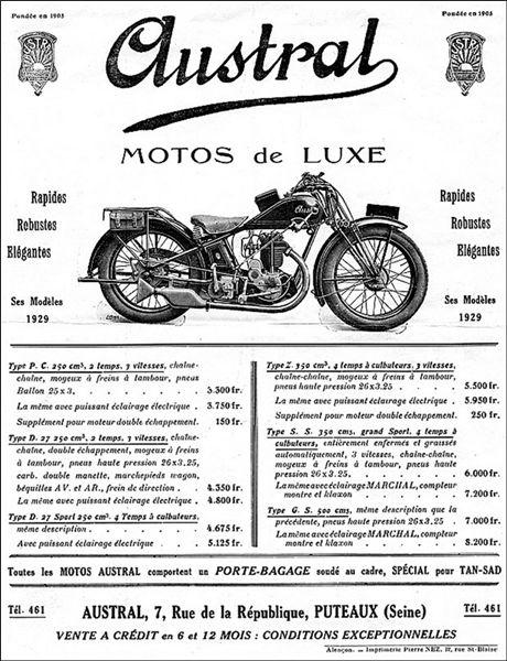 prospectus Austral 1929, motos type Z, PC 250cm3, D 27 Sport, GS, S.S.