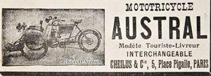 Mototricycle Austral Touriste-Livreur, Cheilus & Cie, publicité 1904