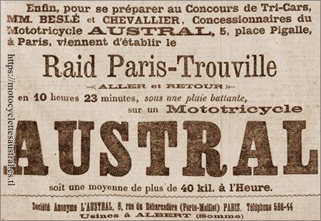 Beslé et Chevalier, concessionnaires Austral, Place Pigalle
