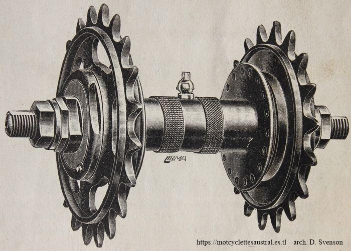 moyeu avec deux pignons, dit roue retournable. dessin issu d'un catalogue de la SIA 1914