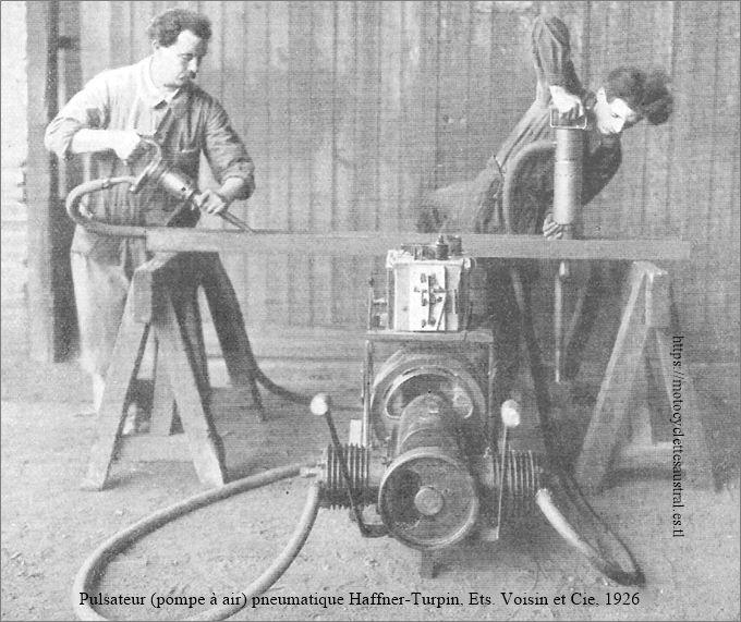 Vue des ateliers Voisin à Levallois. Pulsateur pneumatique Haffner-Turpin.