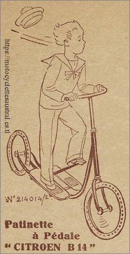 patinette Austral / Citroën, dessin dans un catalogue de Mestre et Blatgé, 1929-1930