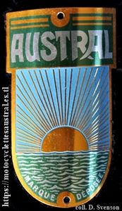 plaque de constructeur pour un vélo Austral après 1935