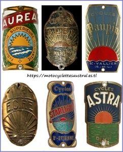 plaques vélo avec motif similaire au soleil d'Austral