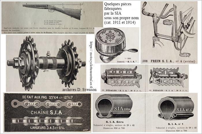 quelques pièces fabriquées par la SIA, collage