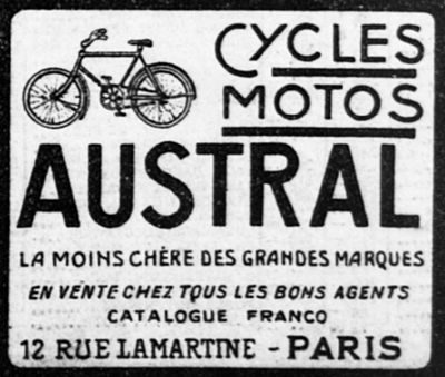 pub cycles, motos Austral 1912, rue Lamartine