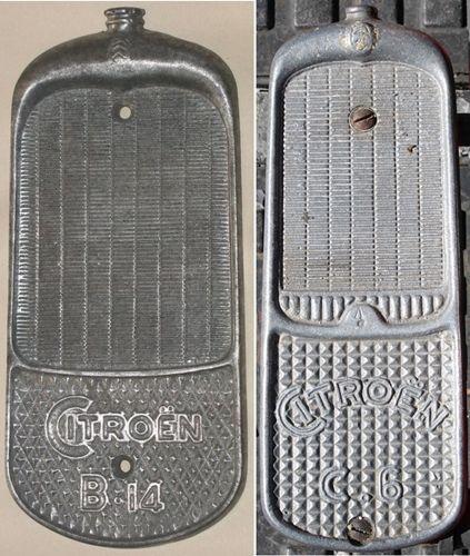 jouets Citroën: repose-pieds de trottinettes en forme de calandre des voitures Citroën types B.14 et C.6