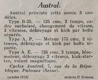 Austral liste de types de motos présentées au salon 1924