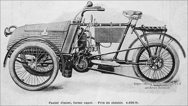 mototricycle Austral type B avec panier d'osier forme capot