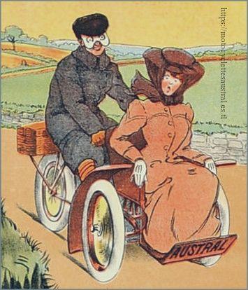 Détail d'une affiche L'Austral, Société Anonyme de Constructions Mécaniques, dessin Walter Thor 1905.