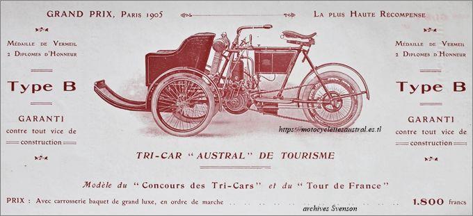 1906 tricar Austral type B, modèle Tour de France et concours des tricars