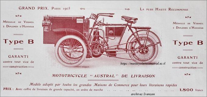tricar Austral type B série 1 de 1906 en version livraison