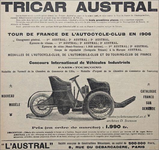 publicité tricar Austral type G 1907