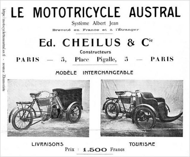 pub Mototricycle Austral type A système Albert Jean 1904