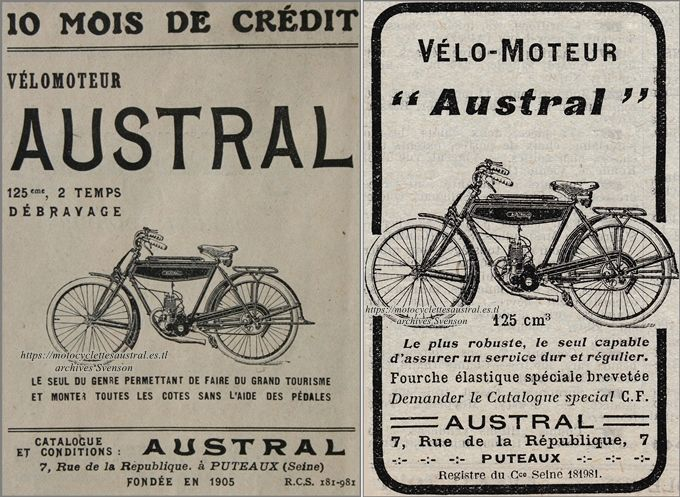 publicité en 1924 pour le vélomoteur Austral A24