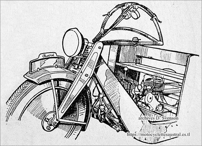 guidon-volant et moteur de la camionnette Austral type L2
