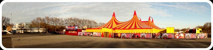 Panoramabild vom Neuer Messplatz Mannheim - Gastspiel des Zirkus des Horrors