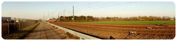 Panoramabild vom Geh- und Radweg, Ludwigshafen-Rheingönheim - Limburgerhof