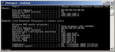 """Výpis z příkazu """"ipconfig -all""""."""