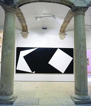 Díptico «Confluencia I y II» de Eugenio López, una de las obras que se exhiben en el patio del palacio de Velarde