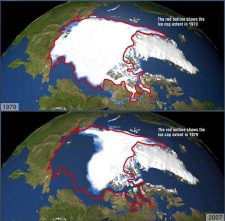 Las imágenes muestran los niveles mínimos de concentración de hielo marino en el Artico, durante los veranos de 1979 a 2007. La línea roja muestra como referencia el nivel de la cobertura de hielo perenne registrado en el año 1979, en comparación con los valores obtenidos en los años posteriores a partir de las observaciones satelitales.