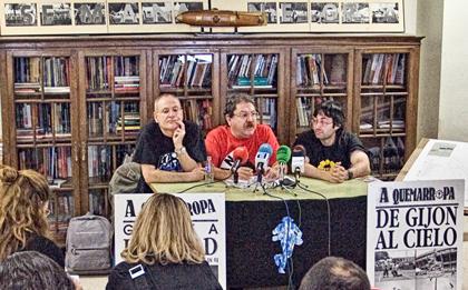 Ángel de la Calle, Paco Ignacio Taibo II y Jorge Iván Argiz, en la presentación del programa del festival