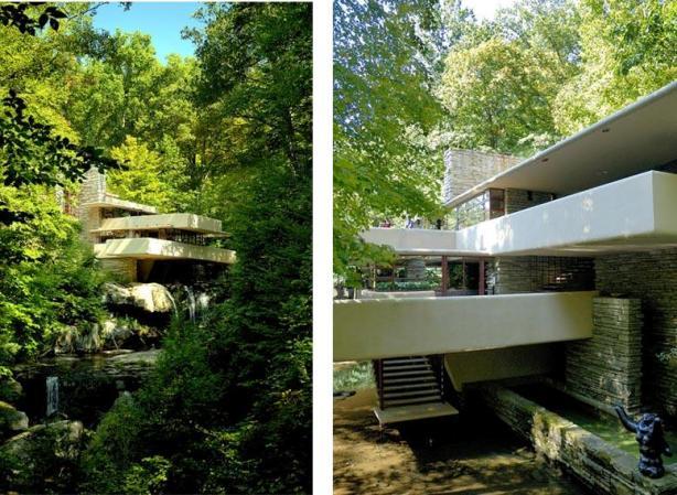 La casa de la cascada de Frank Lloyd Wright cerca de Pittsburgh (Pensylvania), máximo exponente de arquitectura orgánica.