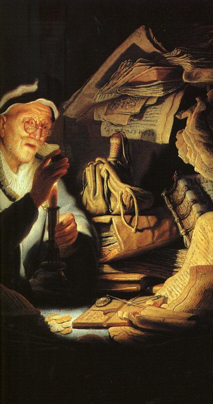Cambista de Rembrandt 1627                                               Óleo en Madera, 32 x 42 cm