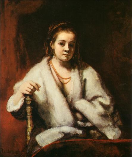 Retrato de Hendrickje Stoffels de Rembrandt           1659   Óleo sobre lienzo  40 1/8x33in