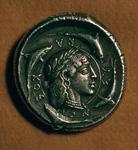 Moneda Griega de Plata de Siracusa 480 A.C. expuesta en el British Museum de Londres