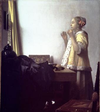 Mujer con collar de perlas  de Vermeer                        1664 Óleo sobre lienzo 55 x 45 cm