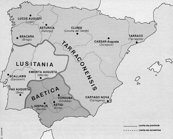El primer emperador Octavio César Augusto, al terminar la conquista de Hispania con la guerra contra los galaicos, cántabros y astures (29-19 a. J. C.), realiza en ella una nueva organización en provincias, subdivididas en conventos jurídicos (algunos dicen que fue ya en 27 a. J. C. pero Emerita Augusta, Mérida, capital de la nueva provincia de Lusitania, no se funda hasta 13 a. J. C. y hubo algunas modificaciones en los límites hasta 7 a. J. C)