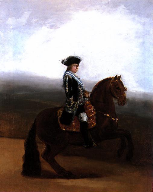 Retrato ecuestre de Manuel Godoy, Duque de la Alcudia', de Francisco de Goya.  (Hacia 1795). Óleo sobre lienzo. 55,2 x 44,5 cm.