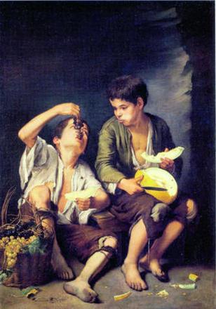 'Niños comiendo melón y uvas' de Murillo