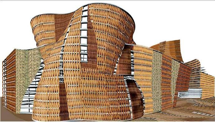 El pabellón de España «pabellón-cesto» ha sido diseñado por la arquitecta italiana Benedetta Tagliabue
