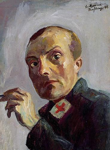 """Max Beckmann Autorretrato como enfermero, 1915 en la exposición  """"¡1914!. La Vanguardia y la Gran Guerra"""""""