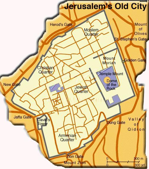 Mapa de la Ciudad Vieja de Jerusalén