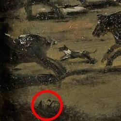 En un círculo rojo, zona del lienzo donde se hallan las iniciales A J que, se supone, corresponden al pintor valenciano Asensio Juliá