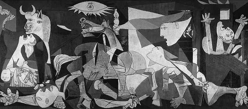 El Guernica de Picasso es un óleo sobre lienzo, con unas dimensiones de 3,50 x 7,80 m. Está pintado utilizando únicamente el blanco y negro, y una variada gama de grises.