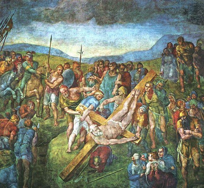 La Crucifixión de san Pedro fresco del pintor renacentista italiano Miguel Ángel. Fue ejecutado entre 1546 y 1550 en la pared de la Capilla Paulina del Palacio Apostólico, en la Ciudad del Vaticano