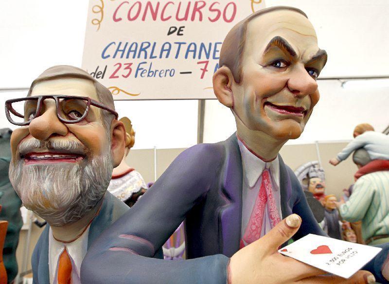 Ninots de José Luis Rodríguez Zapatero y Mariano Rajoy incluidos en la tradicional Exposición del Ninot 2008
