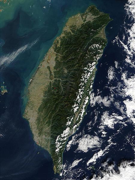 Imagen desde satélite de la isla de Taiwán
