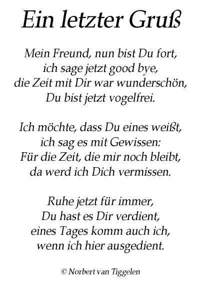 Gedichte Von Norbert Van Tiggelen Ein Letzter Gruss