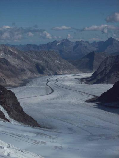 Der große Aletsch-Gletscher aus der Sicht vom Jungfrau-Joch (bei Interlaken)