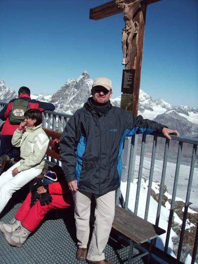 Auf dem kleinen Matterhorn - Blick auf das bekannte Matterhorn und weiteren über 30 Viertausender - August 2006