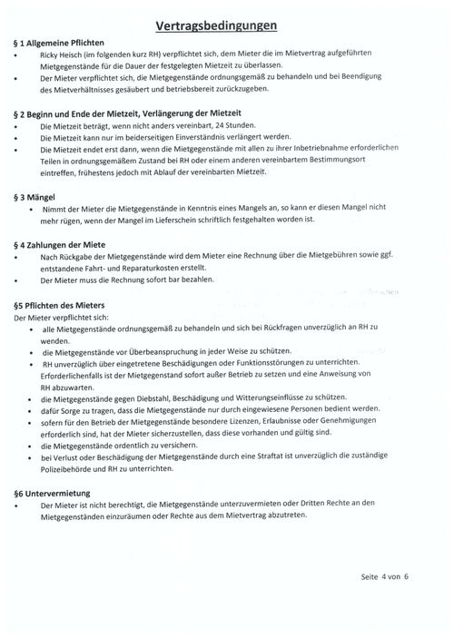 PA-Service - Muster Mietvertrag