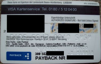 Payback Visa Karte.Paybacksammler