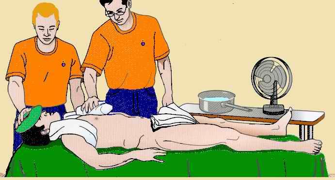 Lavar y colocar compresas de agua fria
