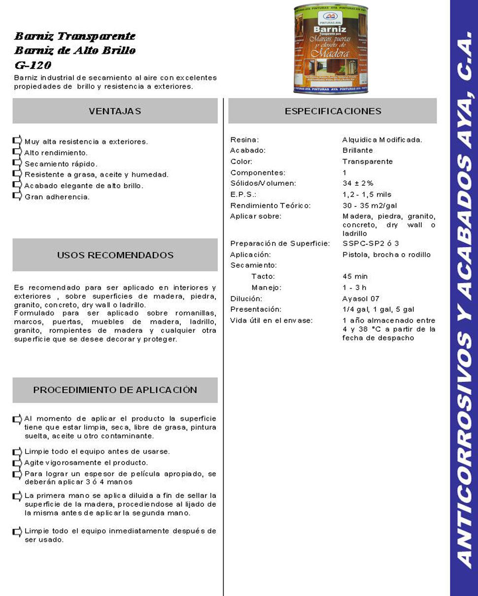 Especificaciones Técnicas Línea para Madera - BARNIZ TRANSPARENTE ...