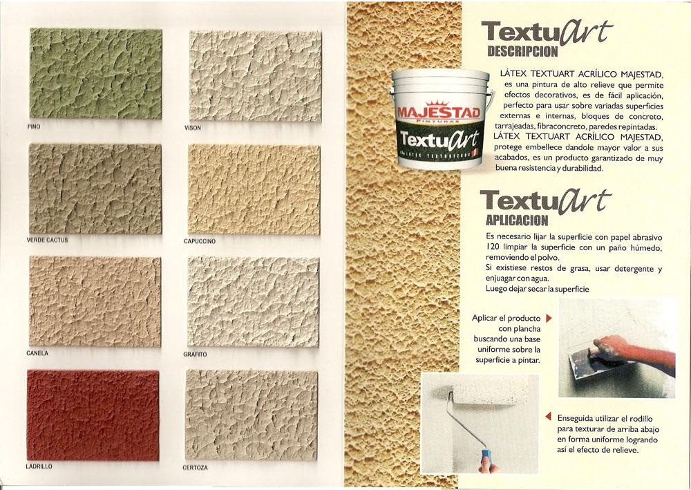Pinturas majestad colores textuart for Tabla de colores pintura interior